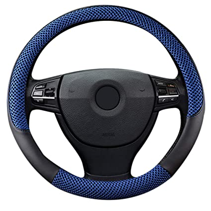 "Amazon.com: LucaSng Black and Blue Microfiber Leather and Ice Silk Fabrics Car Steering Wheel Cover Fit 14.56""-14.96"": Automotive"