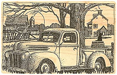 "{Single Count} Unique & Custom (4 1/2"" by 3"" Inches) ""Cassic Truck, Small Town, & Cat"" Square Shaped Genuine Wood Mounted Rubber Inking Stamp"