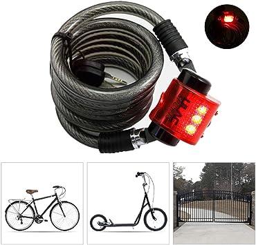 KuaiKeSport Candado Bici con Luz, 150cm*10mm Alta Seguridad ...
