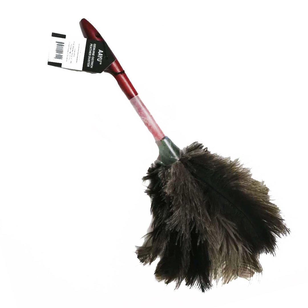 AAYU Brand Premium Professional Feather Duster | Natural Duster for Cleaning and Feather Moping | Genuine Ostrich Feather Duster with Wooden Handle | Eco-Friendly | Easy to Clean Dust (40 cm)