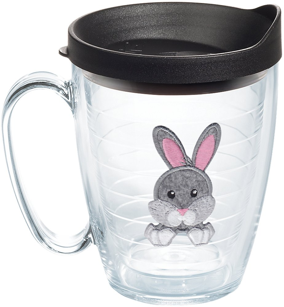 Tervis 1133522 Front & Back Bunny Tumbler with Emblem and Black Lid 16oz Mug, Clear by Tervis