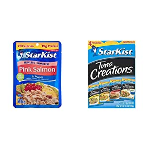 StarKist Wild Pink Salmon - Boneless, Skinless - 2.6 oz Pouch (Pack of 12) & Tuna Creations, Variety Pack, 4 - 2.6 oz pouch (Total 10.4 Oz)(Packaging May Vary)