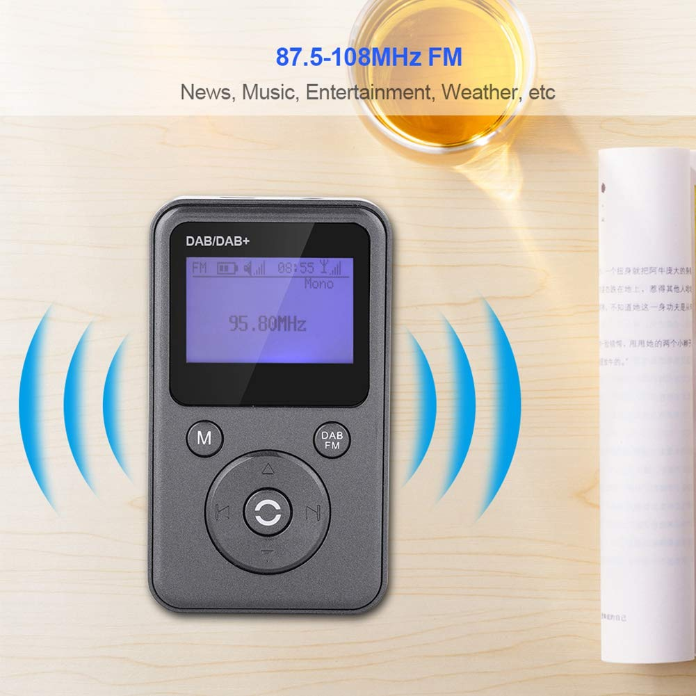 Decodificaci/ón Radio Port/átil de Alta Sensibilidad con Bater/ía Recargable Incorporada Soporte Reproducci/ón de 8 Horas LED Grande Pantalla Bewinner Radio Digital FM Dab//Dab