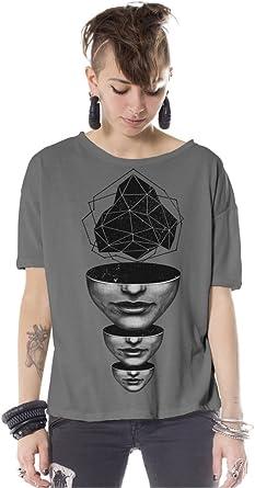 Camiseta Ancha Gris con Estampado geométrico Mind Abyss - Ropa Urbana con Arte gráfico para Mujer: Amazon.es: Ropa y accesorios