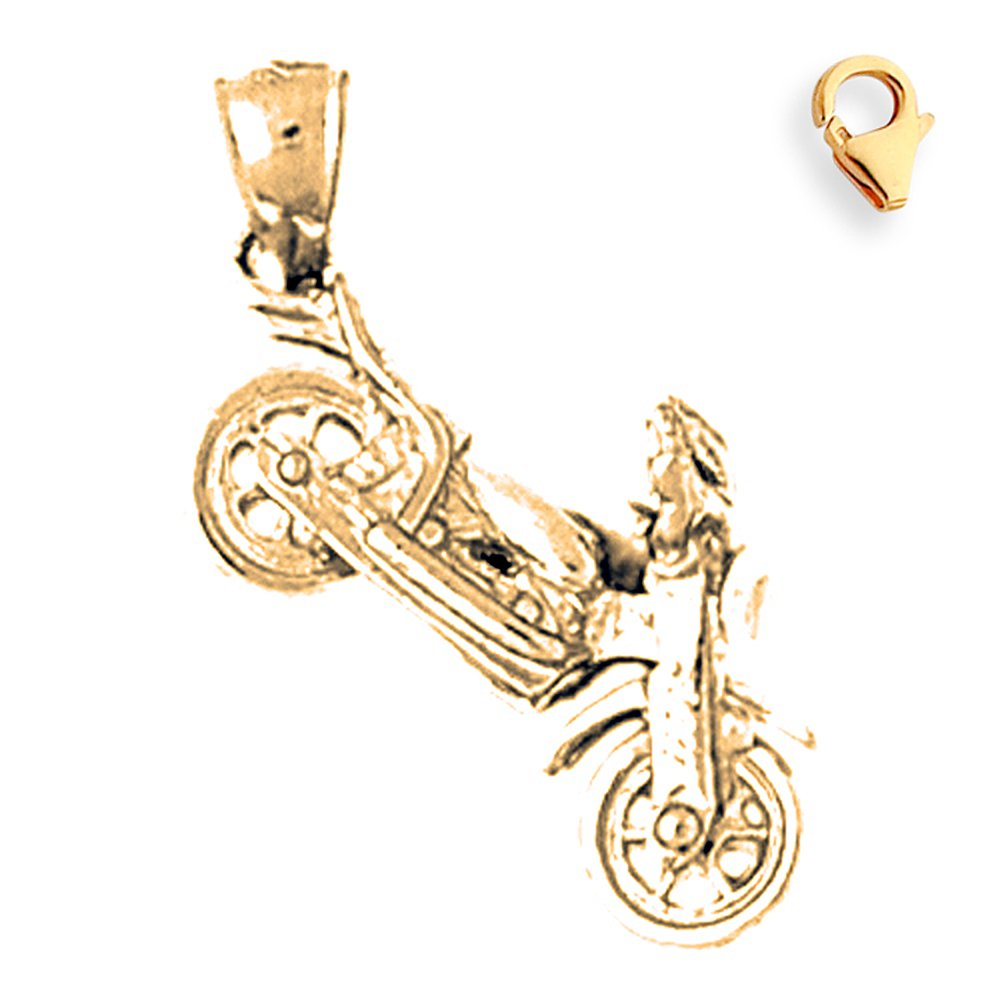 Silver Yellow Plated 3-D Motorcycle Charm 23mm