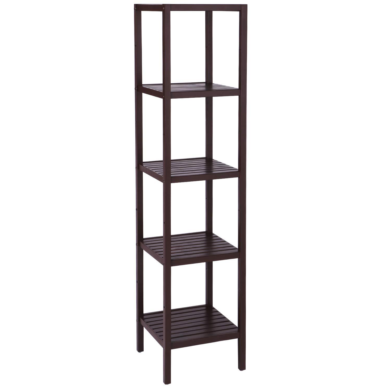 pretty nice 0f645 a4a13 BEWISHOME 5 Tier Bamboo Shelf,Bamboo Bathroom Shelving Unit,DIY  Multifunctional Bamboo Shelf & Brown Bamboo Storage Rack,Free Standing  Storage Shelf ...