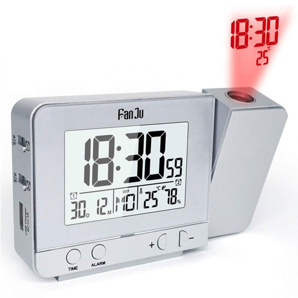 JWBOSS Multifunktions-LCD-Wecker in Silber und Silber