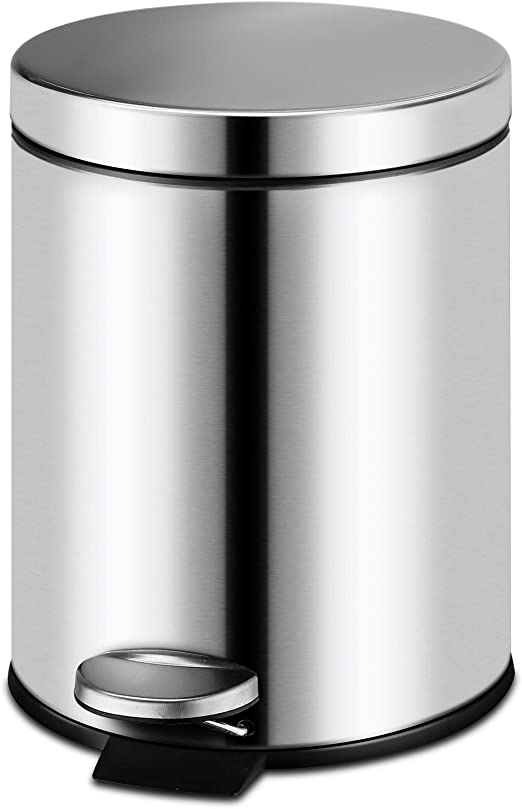 Brushed Stainless Steel 3.2gal Kitchen Garbage Can with Round Step,  Fingerprint Proof 12Liter