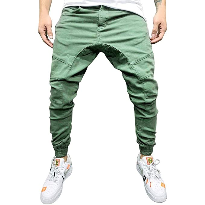 dec672f906455e MILIMIEYIK Men's Jogger Pants in Basic Solid Colors and Stretch Twill  Fabric Army Green