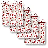 Cackleberry Home Hearts & Lace Seat Cushions with Ties 15 Inches Square Reversible, Set of 4