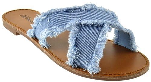 956260d1acb72 Java 05 Womens Distresses Denim Elevated Slip on Sandals Blue 6.5