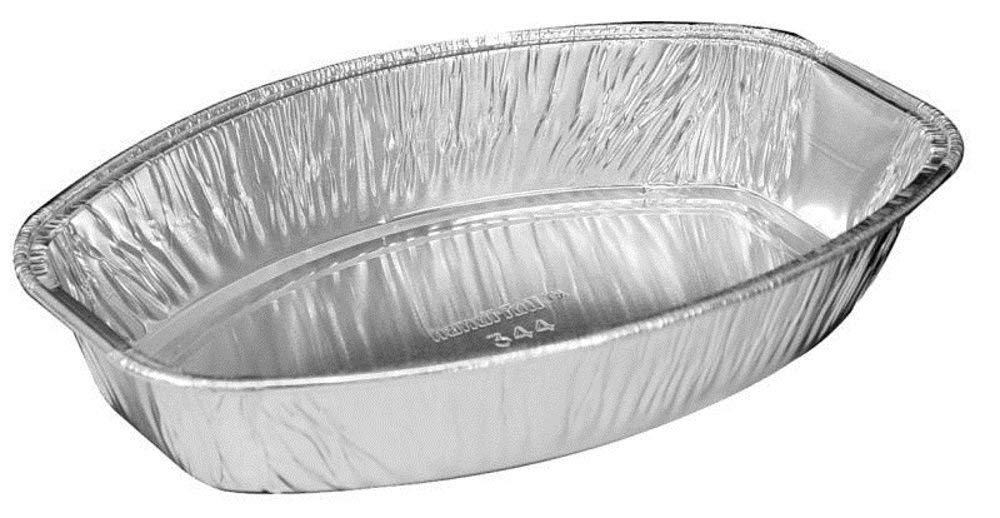 8'' x 5'' Mini Oval Shaped Casserole Dish (Pack of 12) - Premium Quality Silver Aluminum Foil Baking Pans – Perfect Food Serving Tray for Individual Meals, Home, Cafeteria, Fast Food Restaurant Use