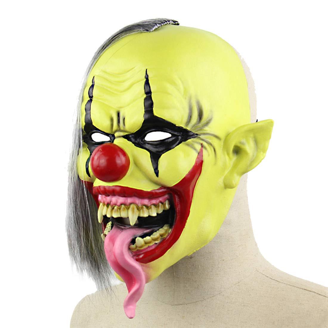 Mens Horror Green Face Clown Mask Halloween Cosplay Costume Latex Masks Party Masquerade Grotesque Props