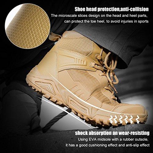 FREE SOLDIER pour Homme Mid Haute durabilité Lacets Bottes Durable Imperméable Armée Combat Chaussures Respirant… 5