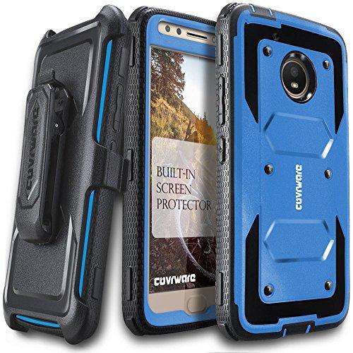 Moto E4 Case, COVRWARE [Aegis Series] w/Built-in [Screen Protector] Heavy Duty Full-Body Rugged Holster Armor Case [Belt Swivel Clip][Kickstand] for Moto E (4th Generation), Blue