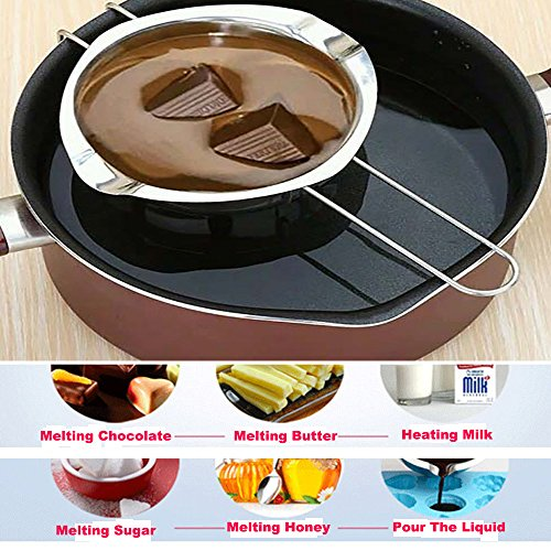 BEMINH Universal Double Boiler Baking Tool Melting Pot with Silicone Spatula, 18/8 Stainless Steel Universal Insert Pan, 2 Pour Spouts, Heat-resistant Long Handle, For Butter Chocolate Cheese Caramel by BEMINH (Image #6)'