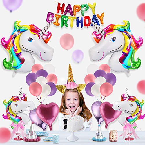 Unicorn Party Supplies for Birthday Party Party Decorations for kids, 1 Glitter Unicorn Headband for Birthday kids children,1 Rainbow Happy Birthday Banner,24 Foil & Latex Balloons with Air (Kids Birthday Party Decoration)