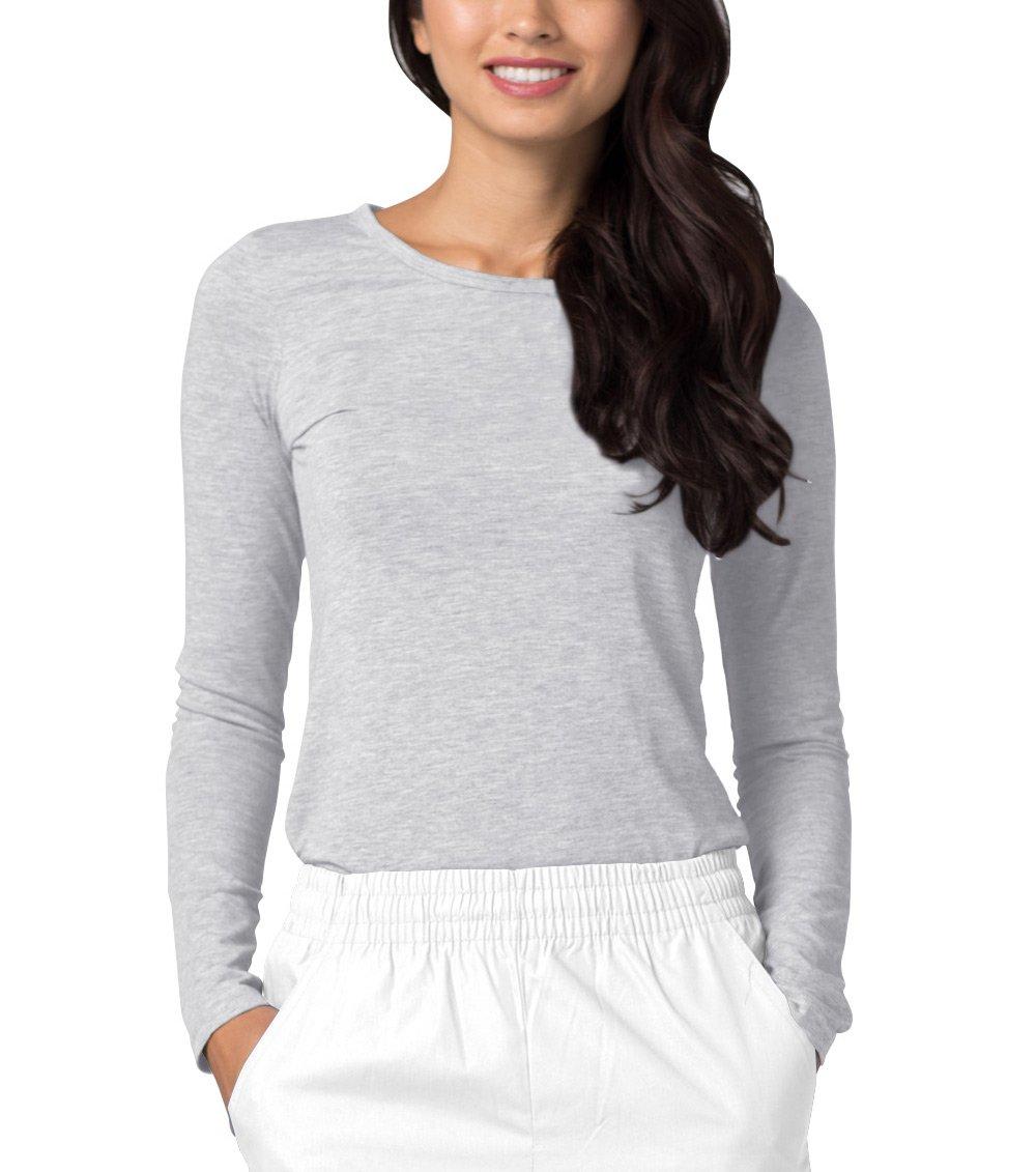 Adar Womens Comfort Long Sleeve T-Shirt Underscrub Tee - 2900 - Marl Gray - L