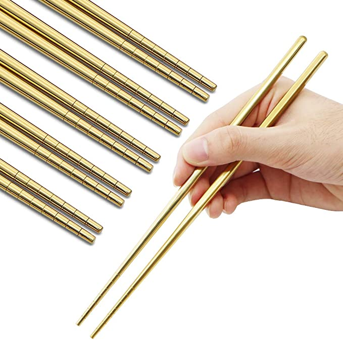 TEMO 5 Pairs Spiral Stainless Steel Chopstick Dish Wash Safe 10pc Asian Kitch...
