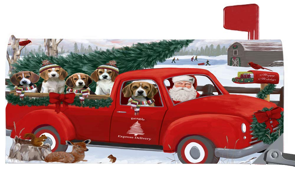 Doggie of the Day Magnetic Mailbox Cover Christmas Santa Express Delivery Beagles Dog MBC48291