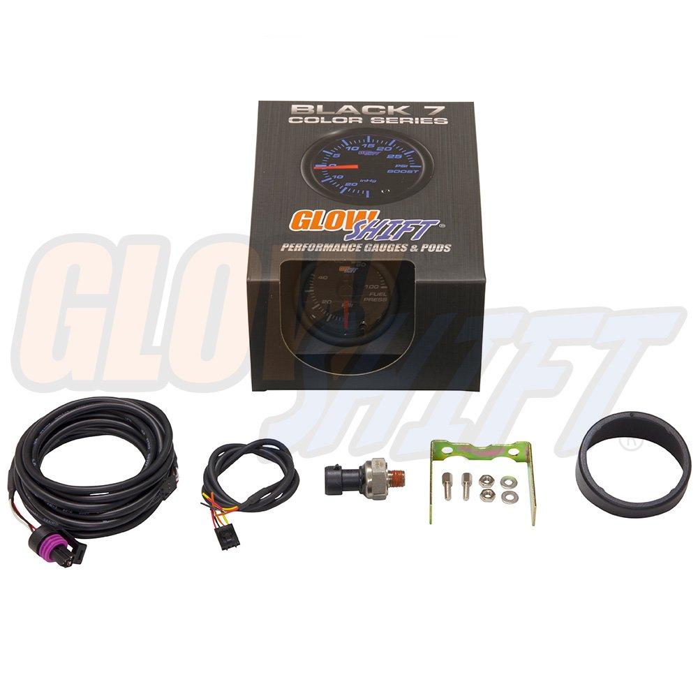 glowshift negro 7 Color 100 PSI Medidor de presión de combustible: Amazon.es: Coche y moto
