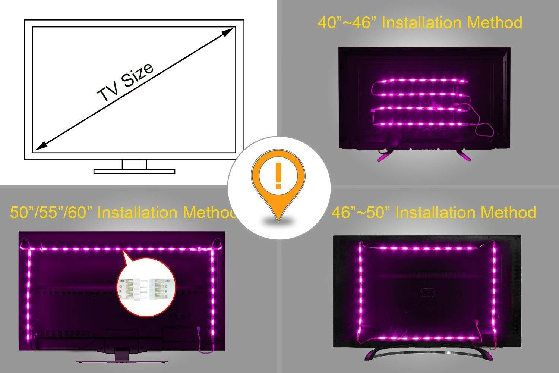 LED TV Backlight,ViLSOM Powered USB LED Strip Lights 6.56Ft for 40 to 60 Inch HDTV - Bias Lighting with 24keys Romote Control RGB Lighting by ViLSOM (Image #6)
