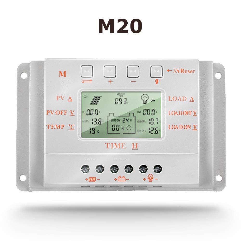 SolaMr 20A Regulador de Carga Solar 12V/24V Identificación Automática Voltaje Panel Solar Regulador de Inteligencia con Pantalla LCD - M20