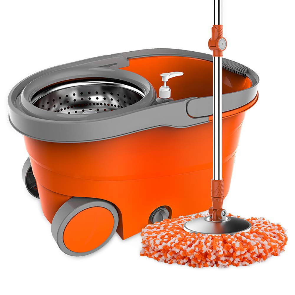 QETU 360°Spin Mop, with Extended Length Handle Stainless Steel Basket, Household Rotating Microfiber Mop (2 Mop Heads),Orange