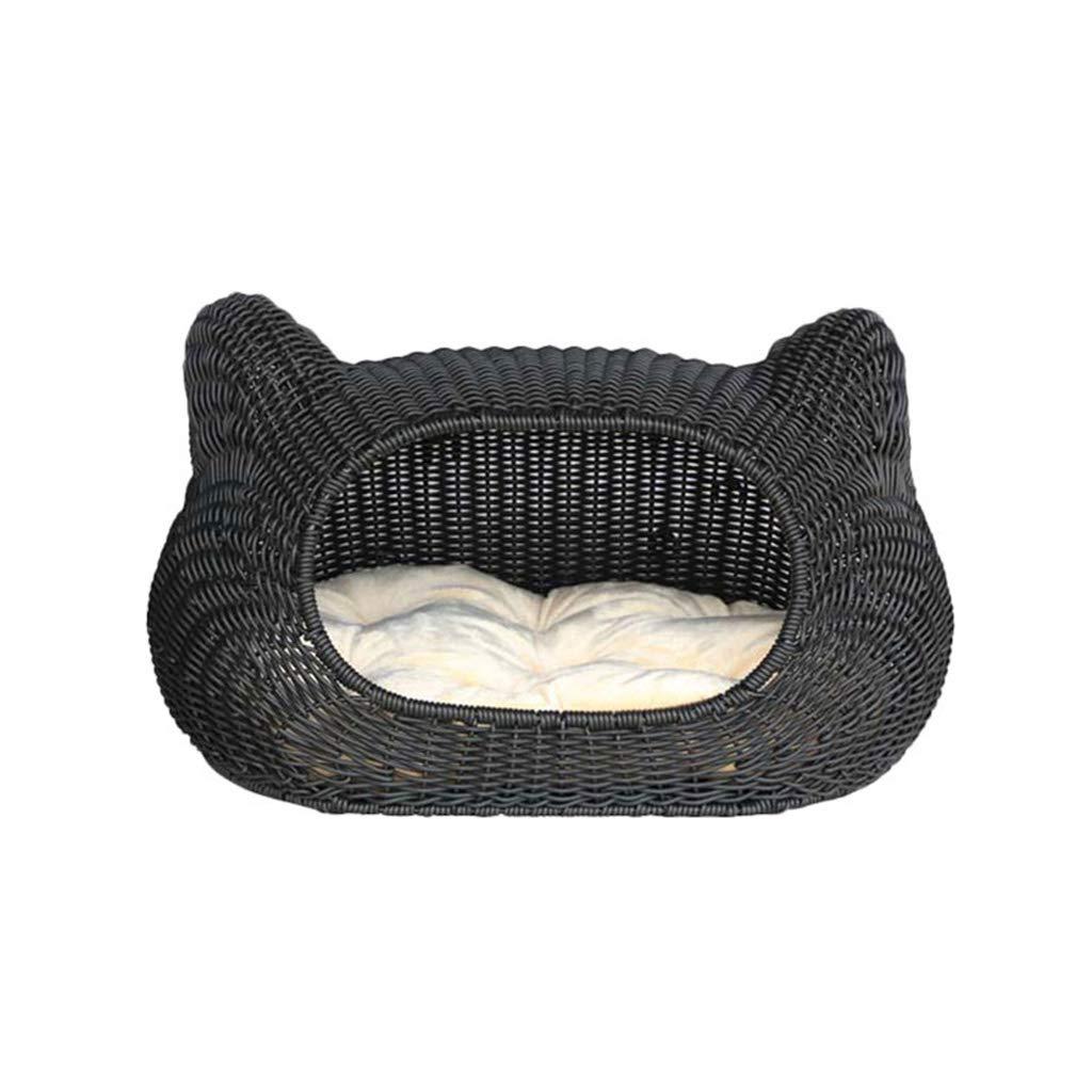 Pet Handmade Rattan Cat Litter Removable Wash Dog Cage Summer Teddy Small Dog Bite Resistant Black