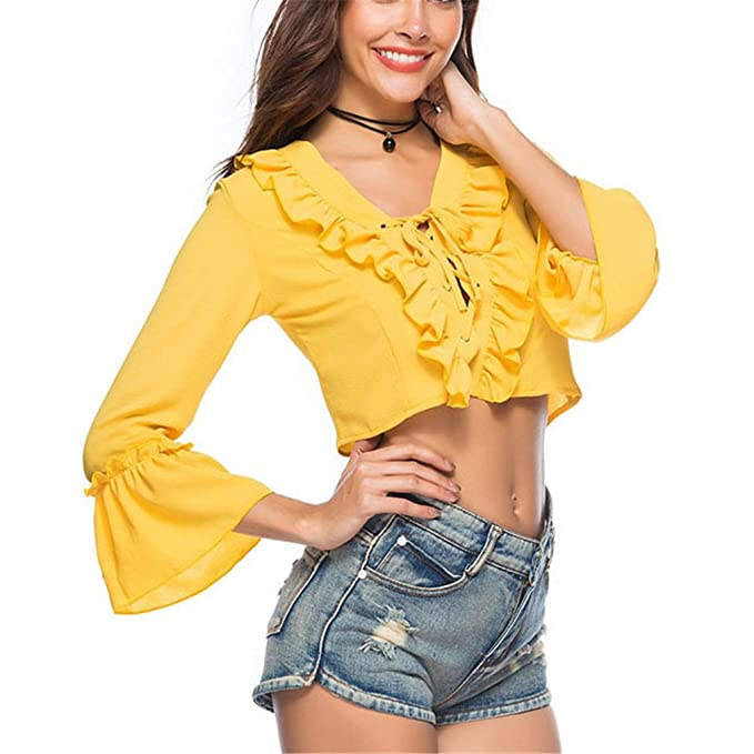 Top Corto con Cuello en V de Color Amarillo Top Casual de Verano con Manga Larga