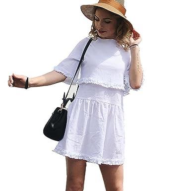 da3f7f4613 Image Unavailable. Image not available for. Color: White Plus Size Beach  Mini Sexy Dress Women Fashion ...