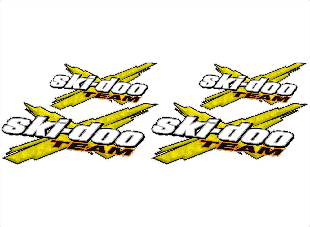 SKI-DOO Team 3DX / YELLOW / 4 PACK Vinyl Vehicle Snowmobile Winter Graphics Decal Stickers Bermuda Shorts Graphics 4333024074
