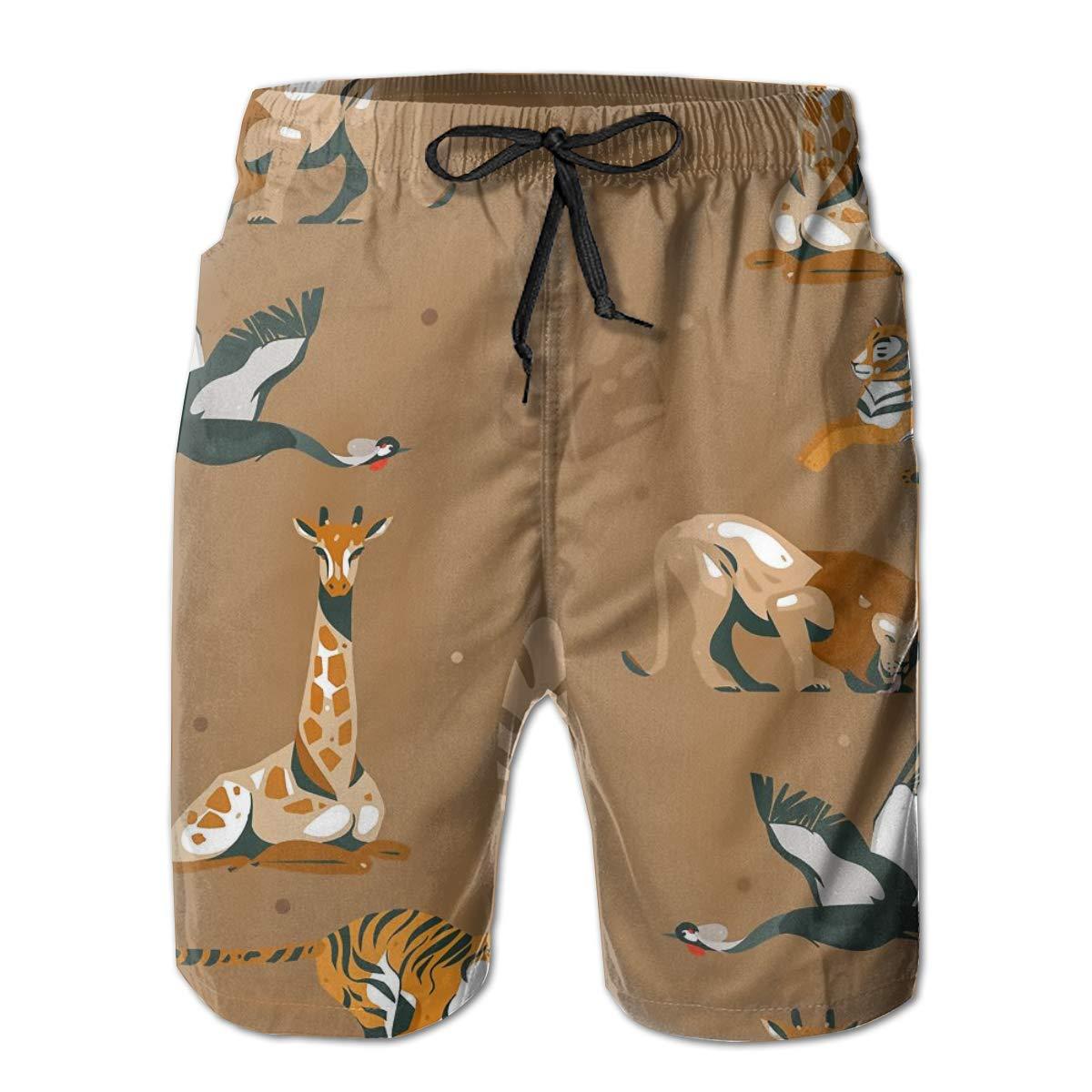 SARA NELL Mens Shorts Giraffe Lion Tiger Modern African Quick Dry Swim Trunks Beach Board Shorts