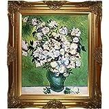 overstockArt Van Gogh jarrón con rosas, arte en lienzo, marco victoriano en oro / acabado