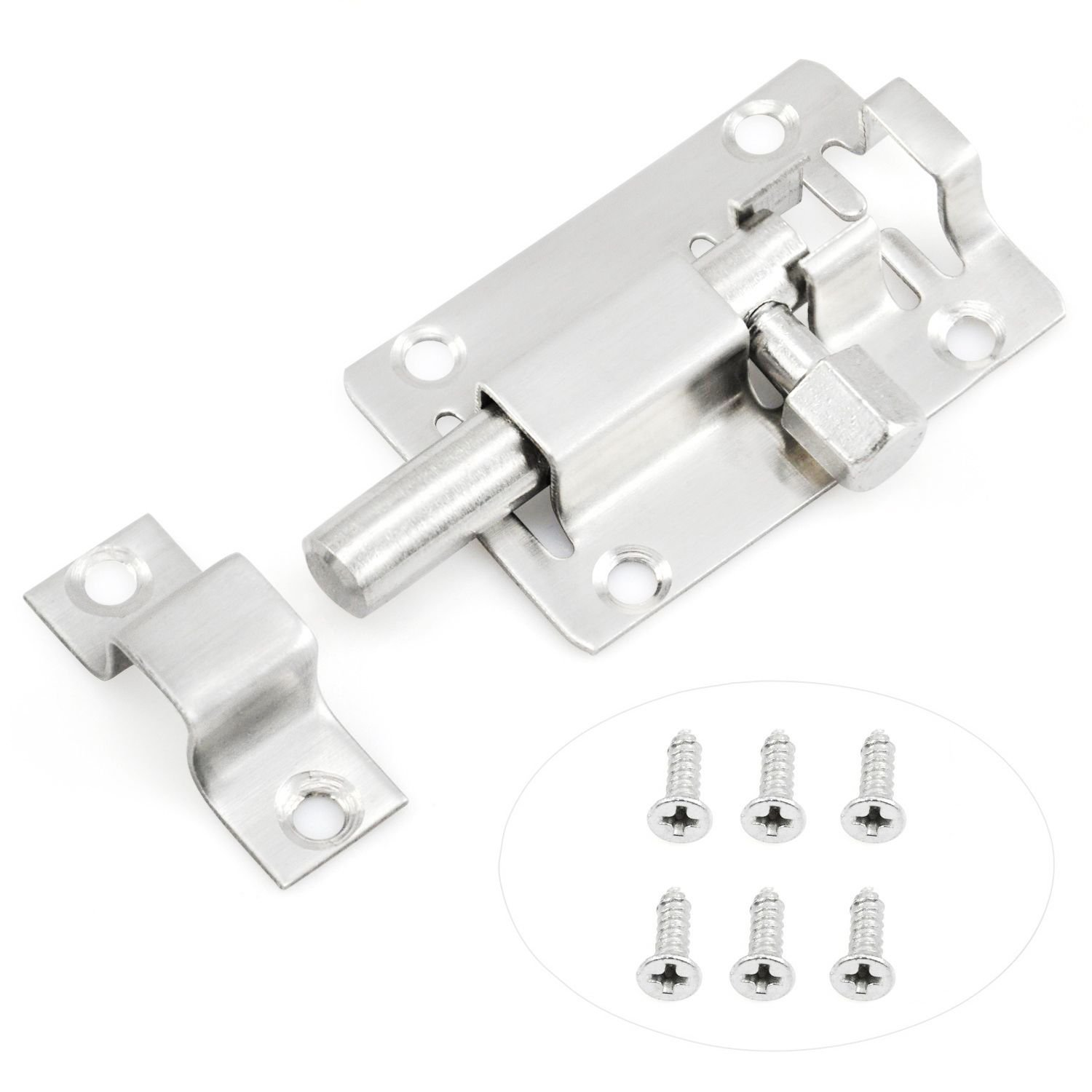 Nrpfell Door Lock Slide Bolt for Bathroom, Toilet, Shed, Bedroom, Furniture Catch Latch Easy Fit
