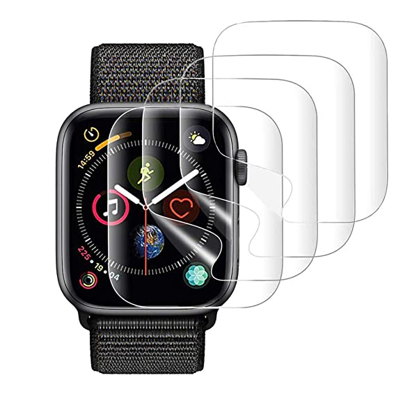 new style e459e fd5a7 KINPEI Screen Protector for Apple Watch 44mm Series 4, 42mm Series 3/2/1  Compatible [Waterproof] [Anti-Bubble] [4 Pack] HD Clear iwatch Film ...
