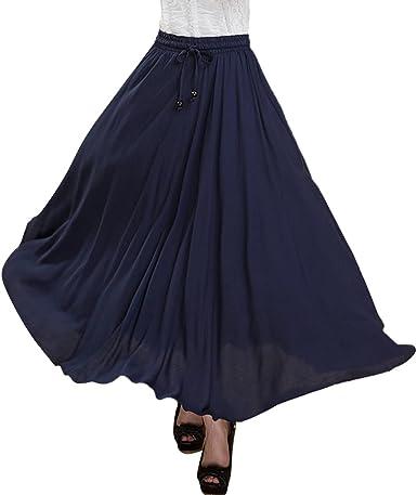 Feoya Falda Larga para Mujeres Plisada Maxi Dress Bohemia para ...