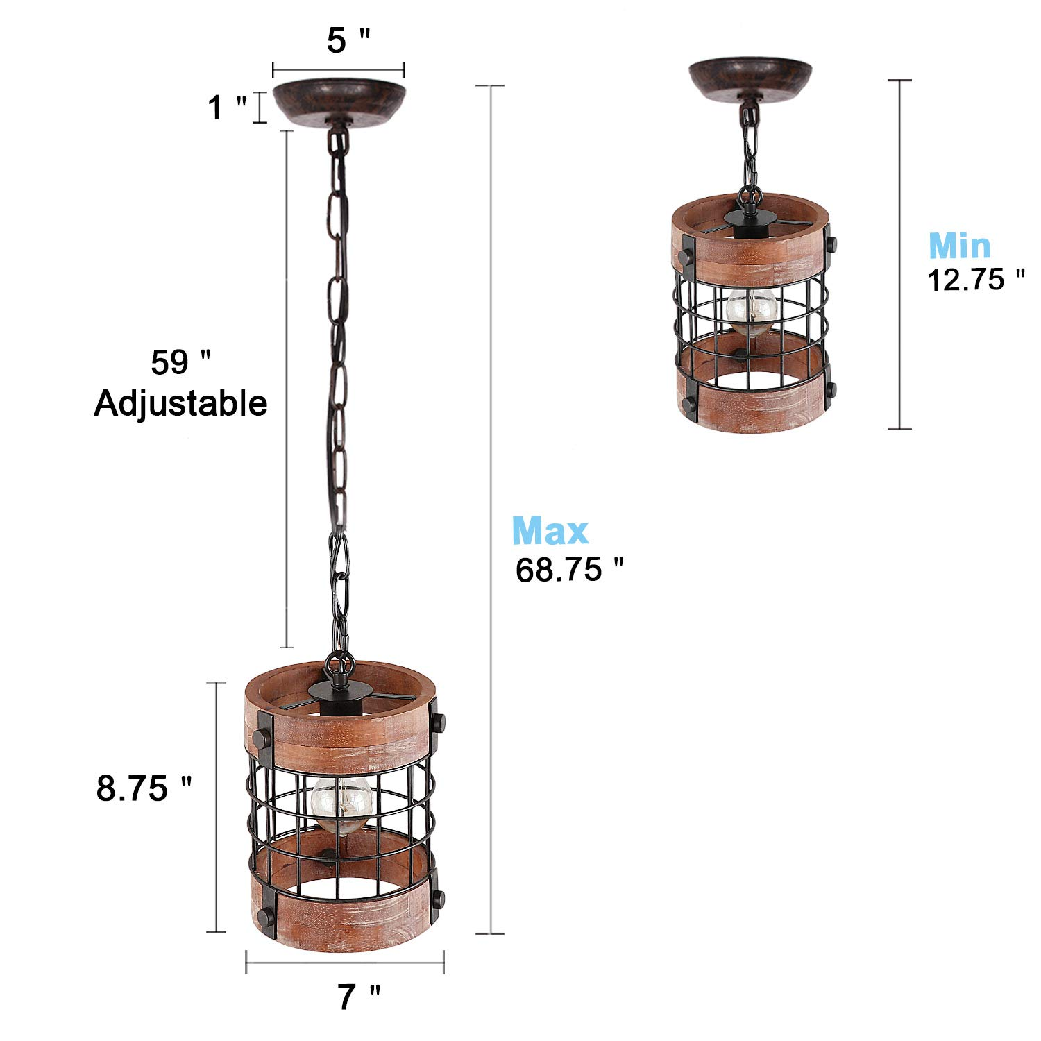 Anmytek Metal and Wood Chandelier Round Pendent Light Retro Rustic Loft Antique Lamp Edison Vintage Pipe Sconce Decorative Light Fixtures and Ceiling Light Luminaire