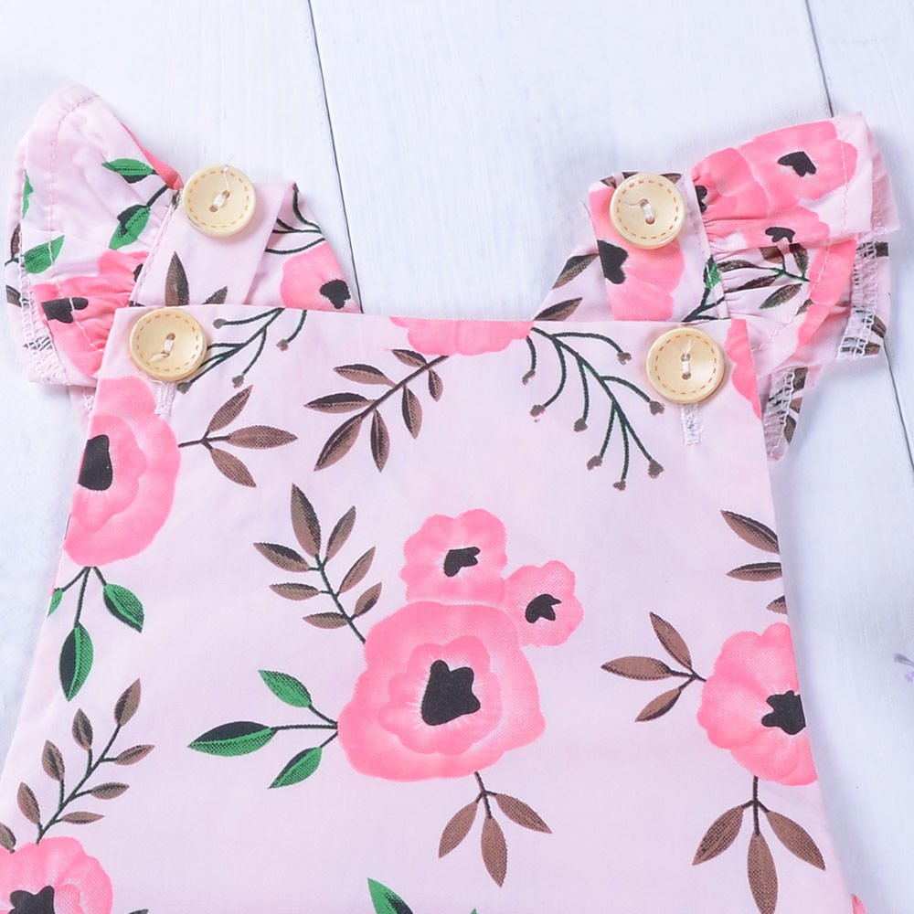 Babywow Infant Baby Girls Cotton Floral Romper Toddler Ruffled Straps Jumpsuit Bodysuit Outfits