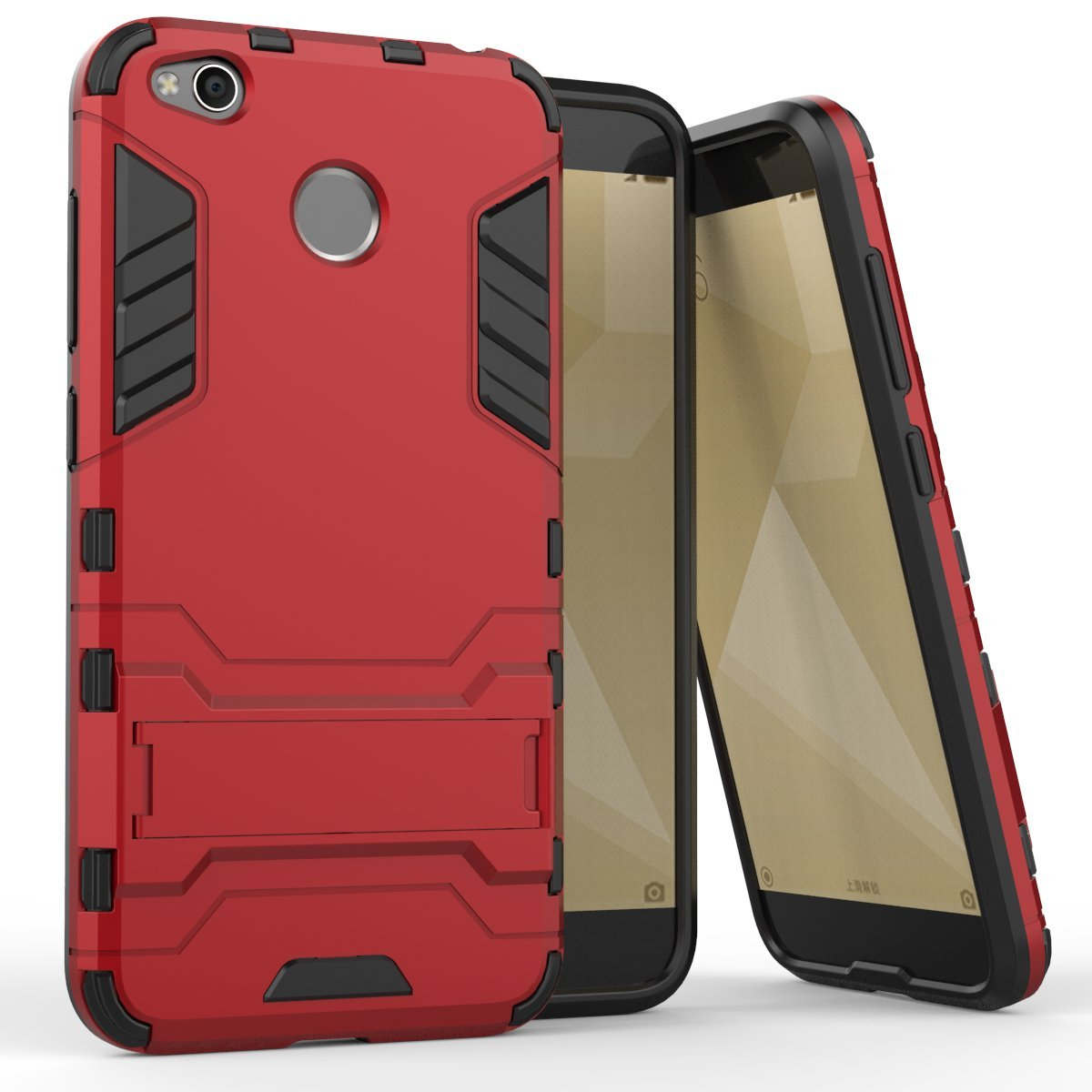 Xiaomi Redmi 4X Funda, adorehouse Hybrid TPU y PC Bumper Back Cover [diseño 2 en 1] Anti-Gota Anti-Choques Rígido Carcasas para Xiaomi Redmi 4X (Rouge)
