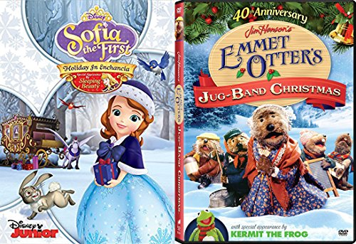 Family and Kids Christmas DVD Bundle - Jim Henson's Emmet Otter's Jug-Band Christmas (40th Anniversary) & Sofia the First Holiday In Enchancia 2-Classic Movie Bundle (Hours All Christmas Open)