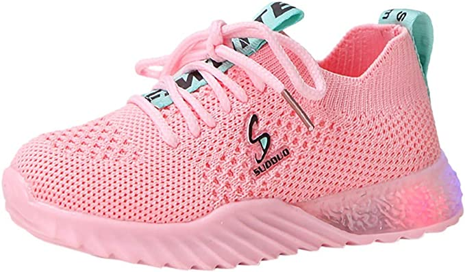 GIRLS CLARKS LUMINOUS GLO SLIP ON SPORTS RUNNING CASUAL MESH TRAINERS SHOES