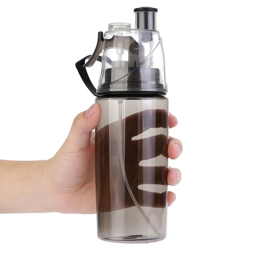 Water Bottle for Men and Women, Iuhan 14 OZ Sport Cycling Mist Spray Water Gym Beach Bottle Leak-proof Drinking Cup (Black)