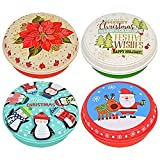 "Round Plastic Printed Resuable Christmas Food Storage Containers w/ Lids, 9"" (Set of 4)"