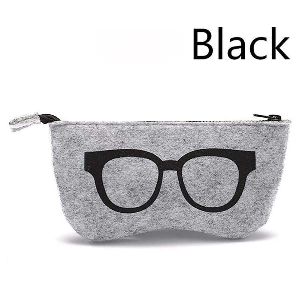 Bestforever21 borsa cerniera morbido in feltro borsa occhiali unisex Blue