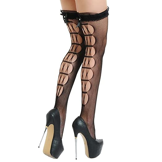 1d1ac62ff Amazon.com  Womens Sexy Thigh High Stockings Over Knee Fishnet Hallow out Socks  Lace Trim Stay Up Hosiery (Black