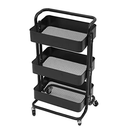 5cf693d88e40 Homgrace Multi-Purpose Utility Rolling Mobile Cart Trolley Organiser with 3  Tier Drawer Units & Metal Mesh Shelving Holders Basket Rack for ...