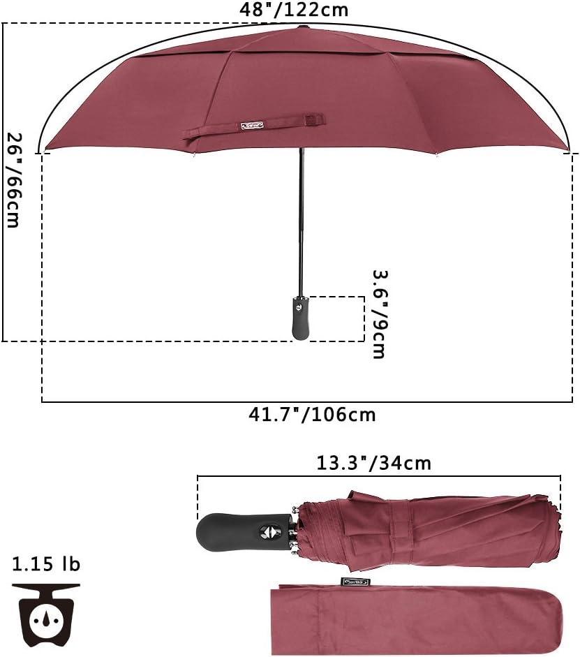 G4Free 48 Inch Folding Travel Umbrella 9 Ribs Double Canopy Auto Open Close