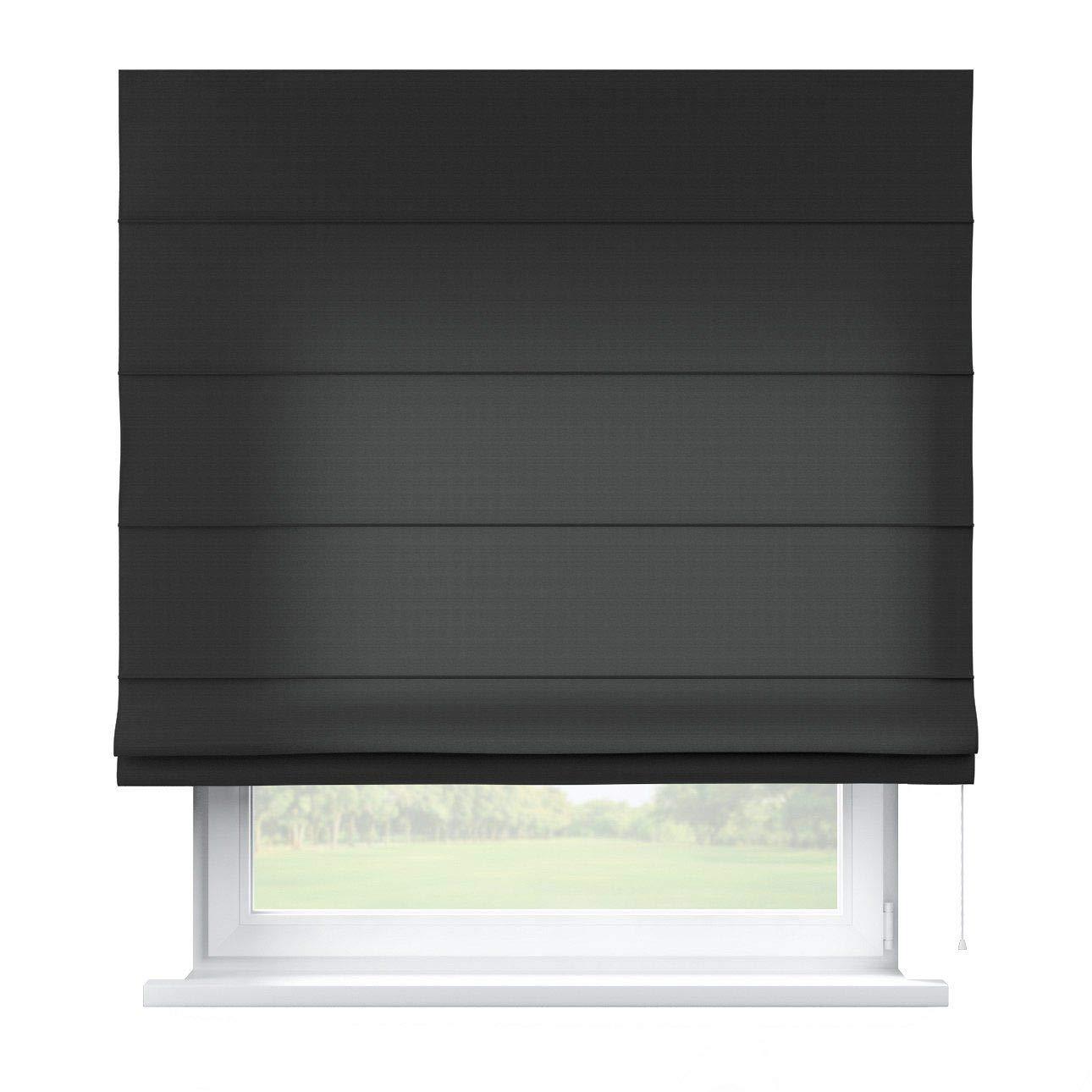 Dekoria Raffrollo Capri ohne Bohren Blickdicht Faltvorhang Raffgardine Wohnzimmer Schlafzimmer Kinderzimmer 130 × 170 cm schwarz Raffrollos auf Maß maßanfertigung möglich