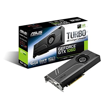 ASUS TURBO-GTX1060-6G - Tarjeta gráfica (Turbo, NVIDIA GeForce GTX 1060, 6 GB, GDDR5, PCI Express 3.0, 7680 x 4320, DVI-D, HDMI, DP) Color Negro